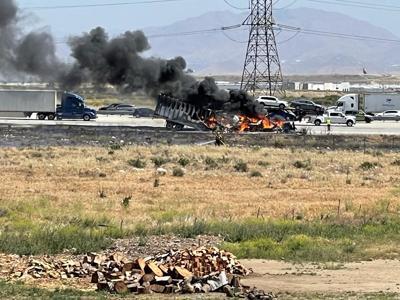 Big rig on fire