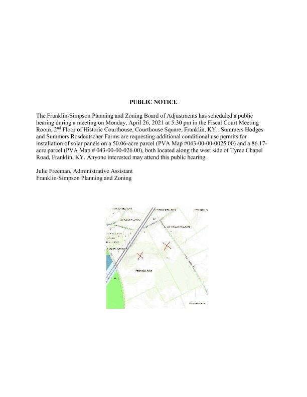 PUBLIC NOTICE The Franklin-Simpson Planning and Zoning Board of Adjustments