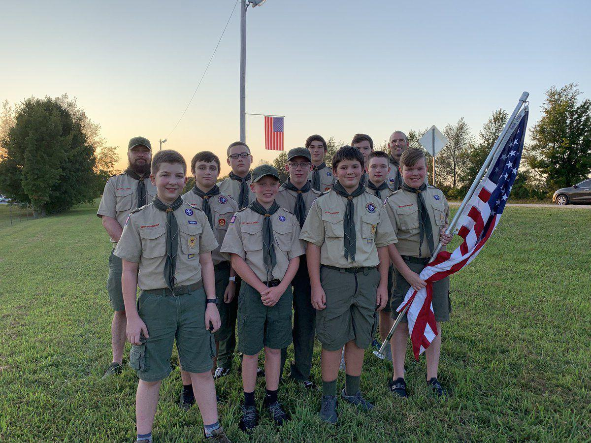 Troop 47 helps City of Franklin maintain flags on U.S. 100