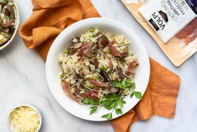 Wine-lovers' risotto: Prosecco-absorbed rice with prosciutto​ makes the perfect hot dish for a cold night