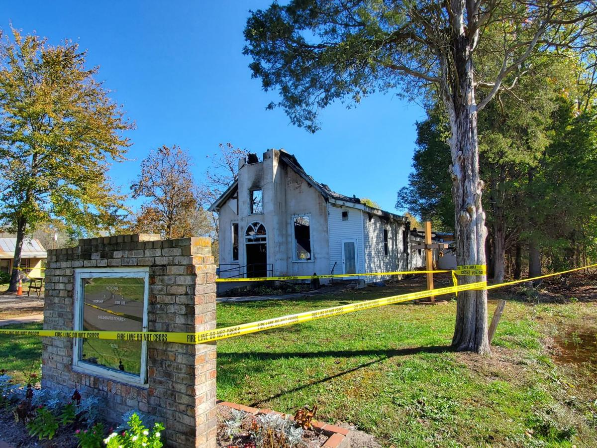 Brandy Station Shiloh church burned with caution tape