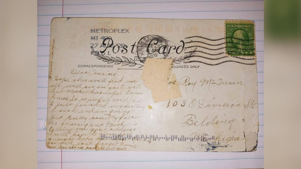 A postcard arrived in Michigan almost 100 years after it went in the mail