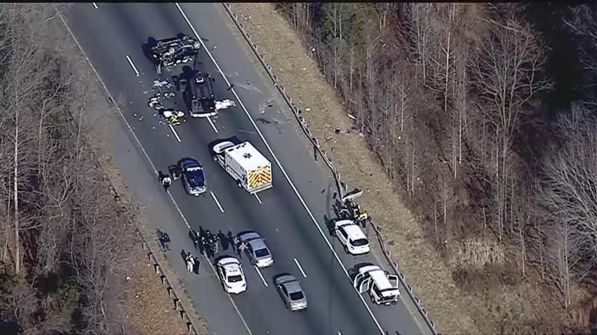 VIDEO: Crash scene at mile-marker 142 on I-95 north in Stafford