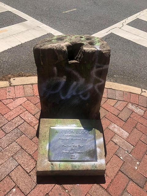 Slave Auction block vandalized