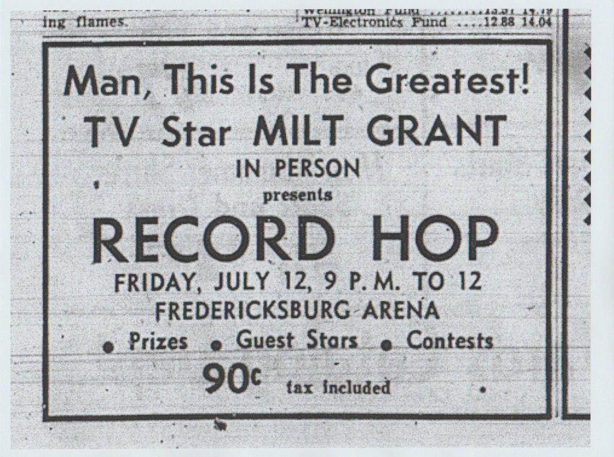 "Milt Grant advertisement for ""Record Hop"""