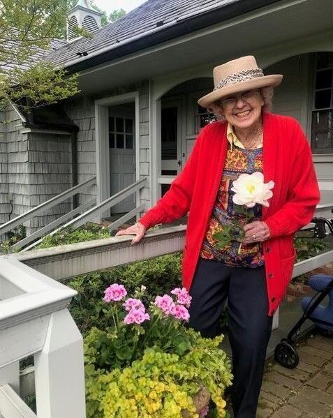 Kitty Sue Hooker in garden