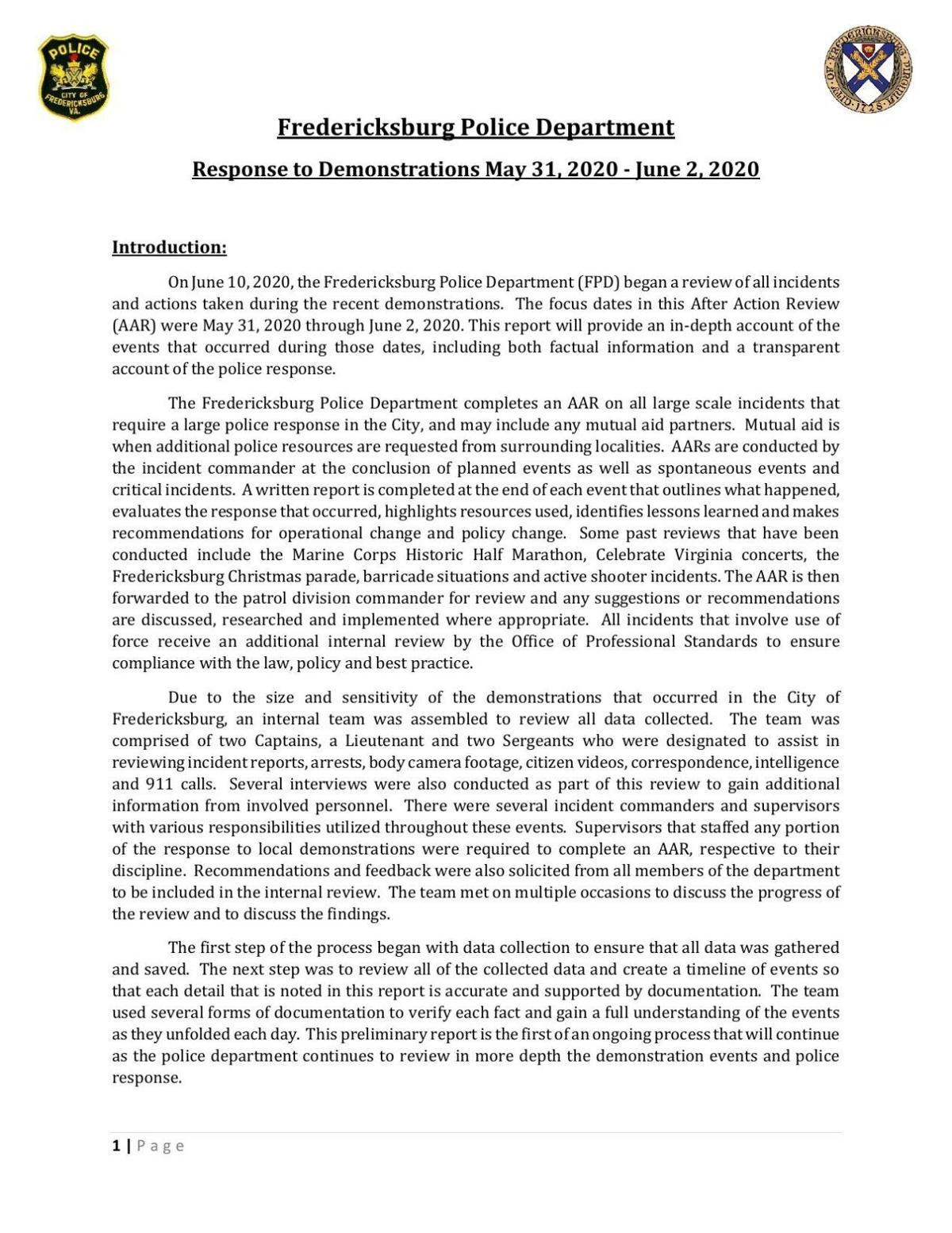 Fredericksburg Police Department Response to Demonstrations May 31, 2020 - June 2, 2020
