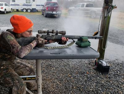 Madison Long of King George prepares to shoot her muzzleloader - Ken Perrotte photo (2)