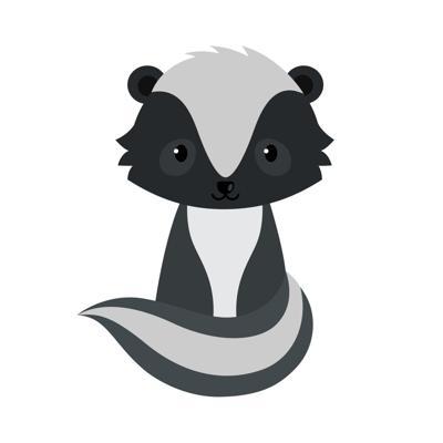 Adorable cartoon sitting skunk.