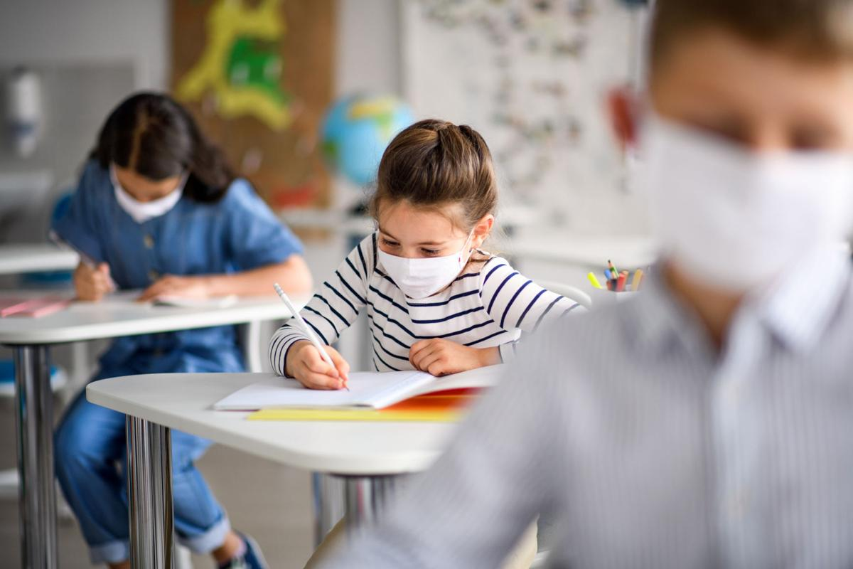 Children with face mask back at school after covid-19 quarantine and lockdown.