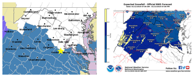 Winter Storm Watch and snow total map