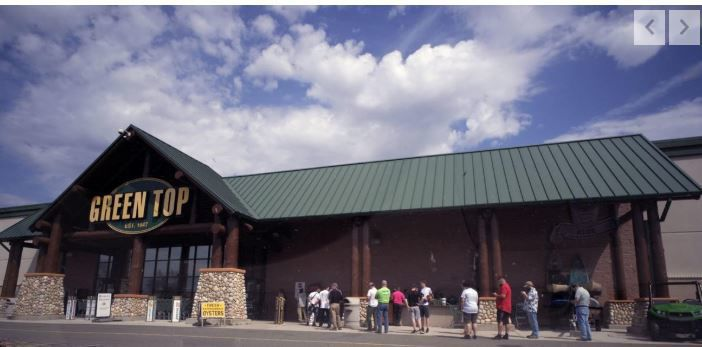 Customers lined up outside the Green Top Sporting Goods store in Hanover.