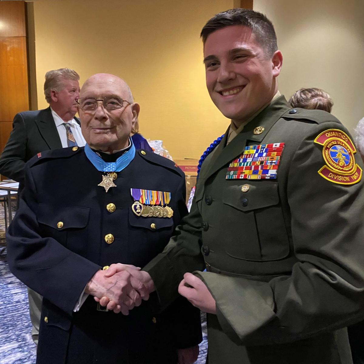 """Nathaniel Paredes and Hershel """"Woody"""" Williams, the last surviving Medal of Honor recipient who fought on Iwo Jima"""