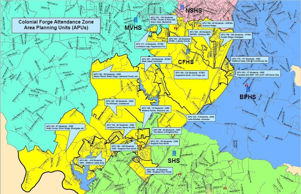 Neighborhood units in Colonial Forge High School zone
