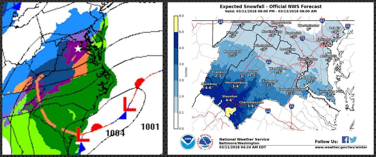 two panel of sfc map and expected snow totals forecast surface