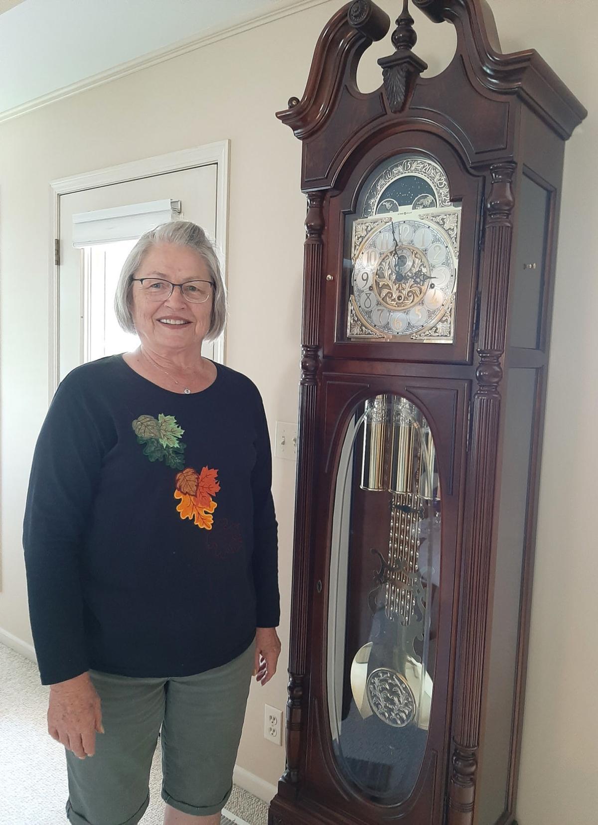 Woman near clock