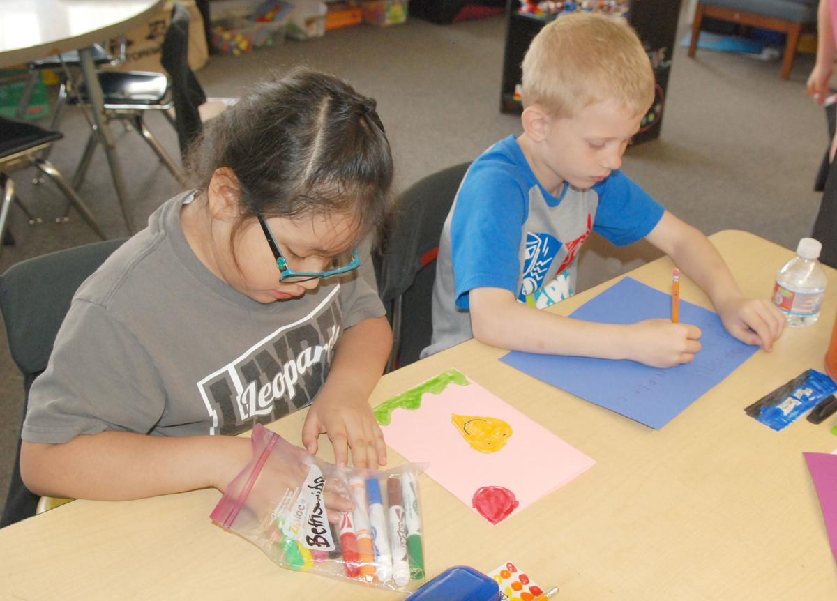 Students making cards
