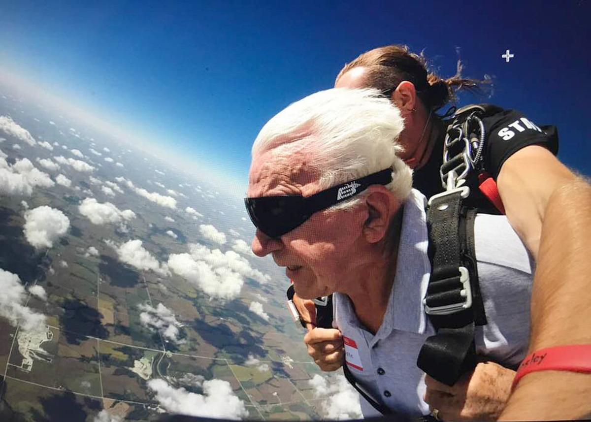 Sky diving at 80 wind in hair