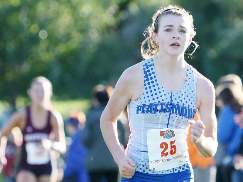 Madison Nelson near finish line