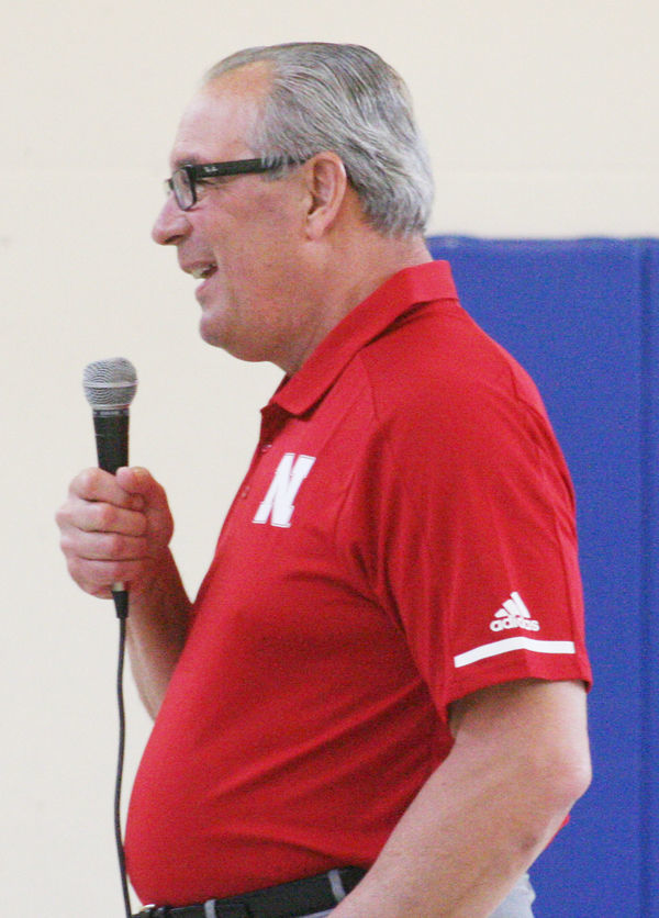 Bill Moos smiles while talking in Plattsmouth
