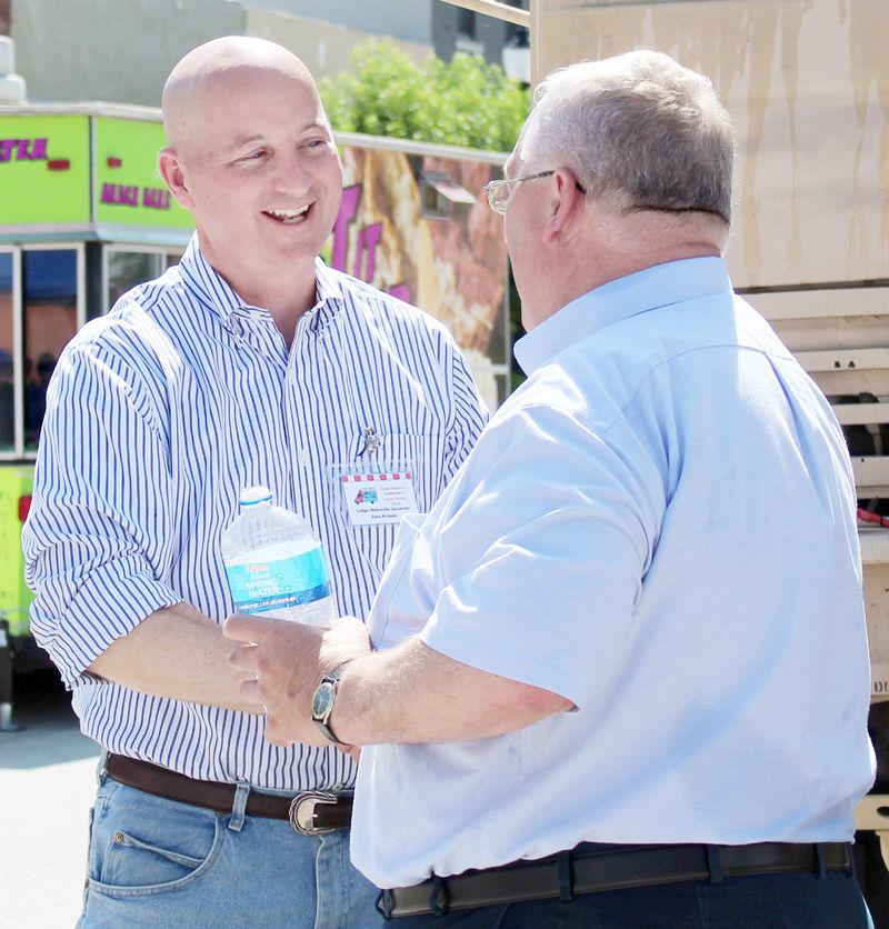 Pete Ricketts and Paul Lambert share a laugh