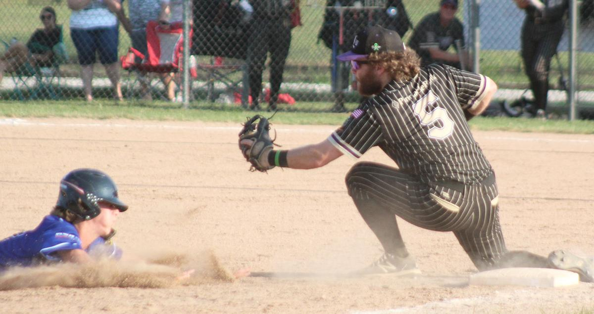 Jake Renner tags out runner trying to steal third base