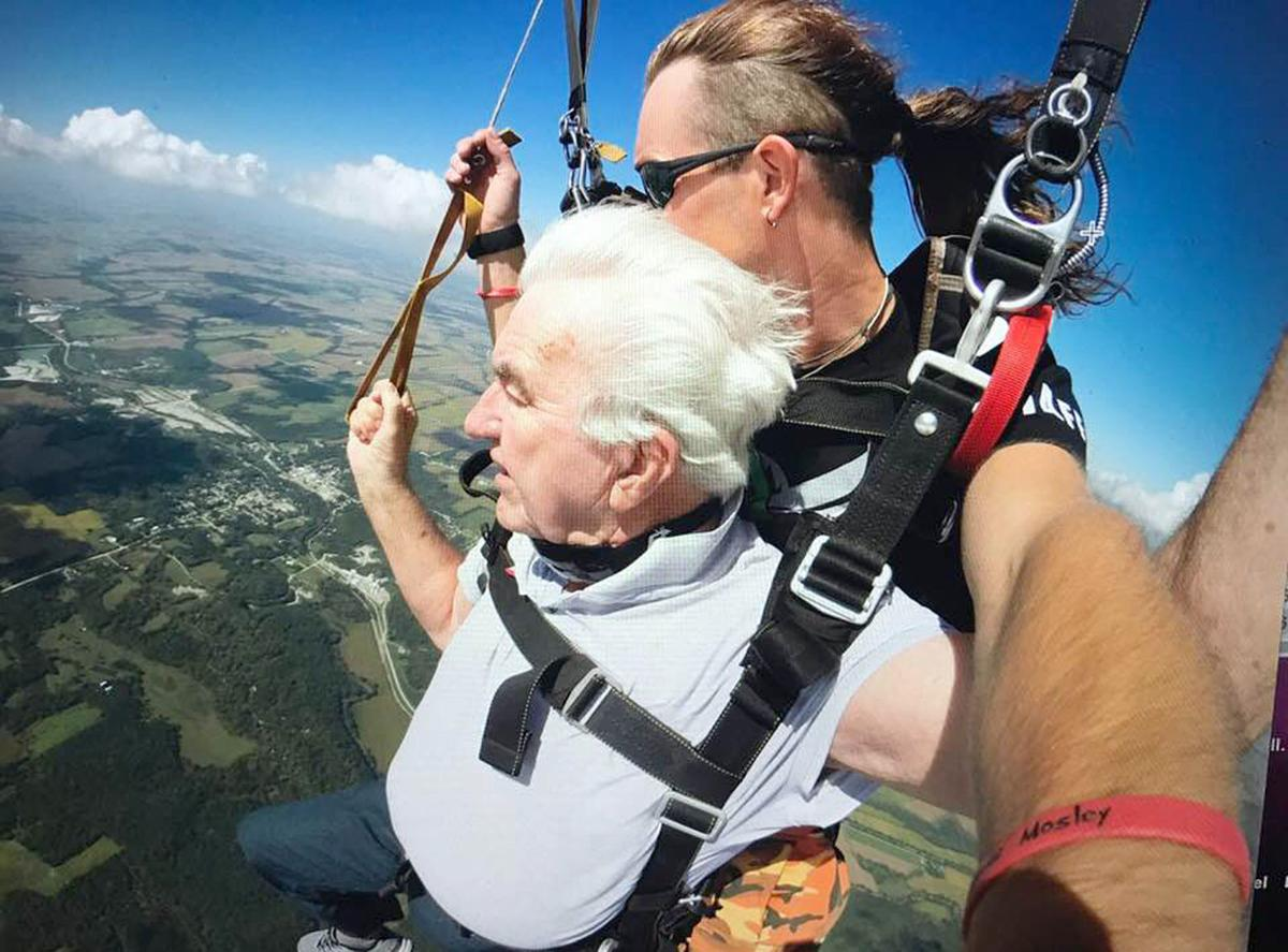 Skydiving at 80 looking over the area