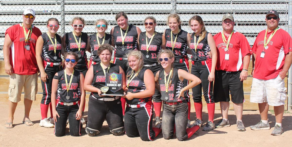 Weeping Water state softball team photo with players and coaches