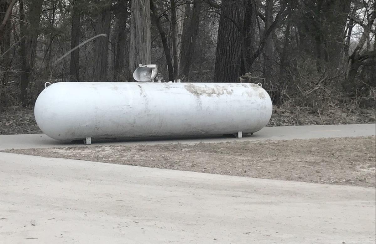 Propane tank on trail