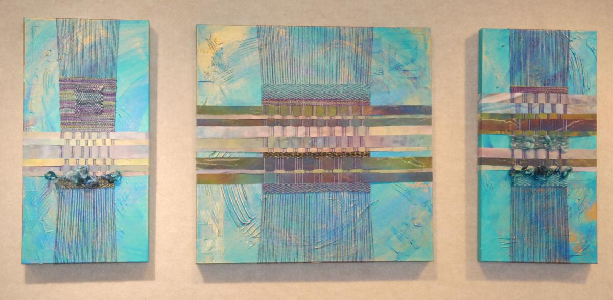 Blue acrylic painting with weaving