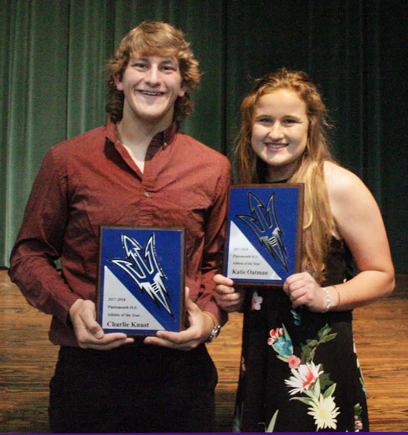 Charlie Knust and Katie Oatman Plattsmouth Athletes of Year