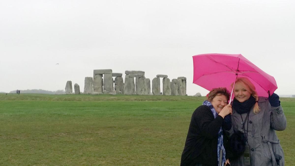 Pastor Nicki with daughter at Stonehenge