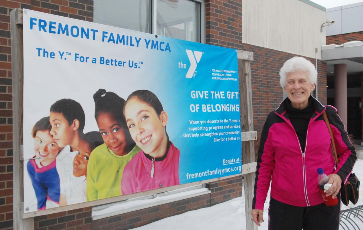 YMCA lady and sign
