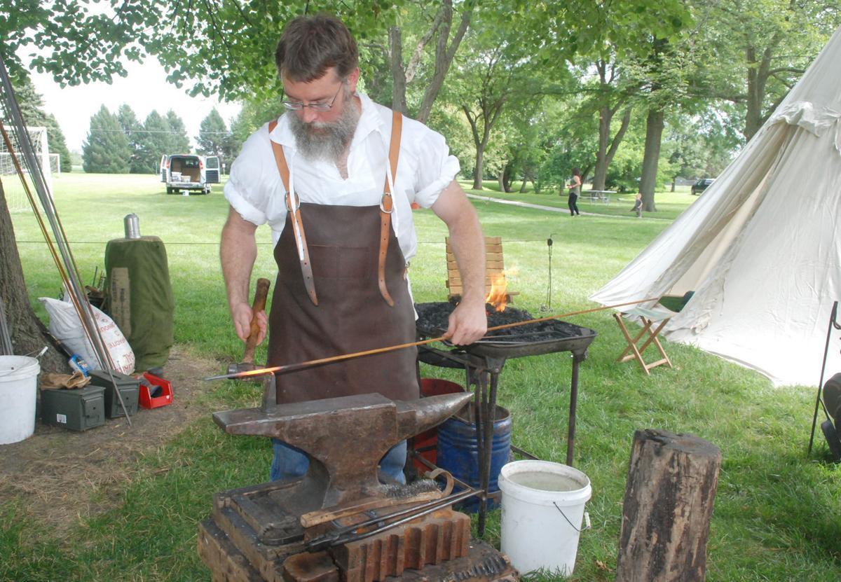 Clemmons Park blacksmith at work