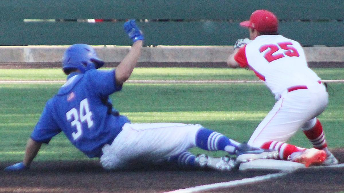 Evan Miller safe at third base in sixth inning