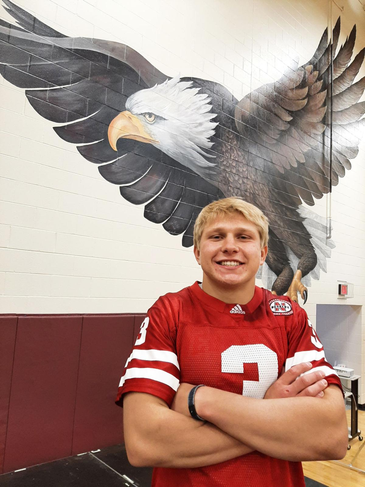 Arlington student with eagle vertical