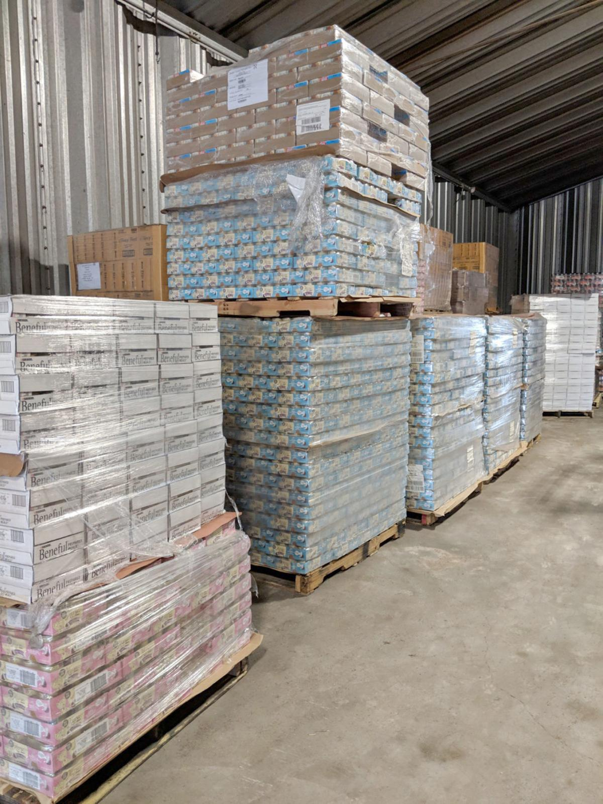 FurEver home pallets of donated supplies