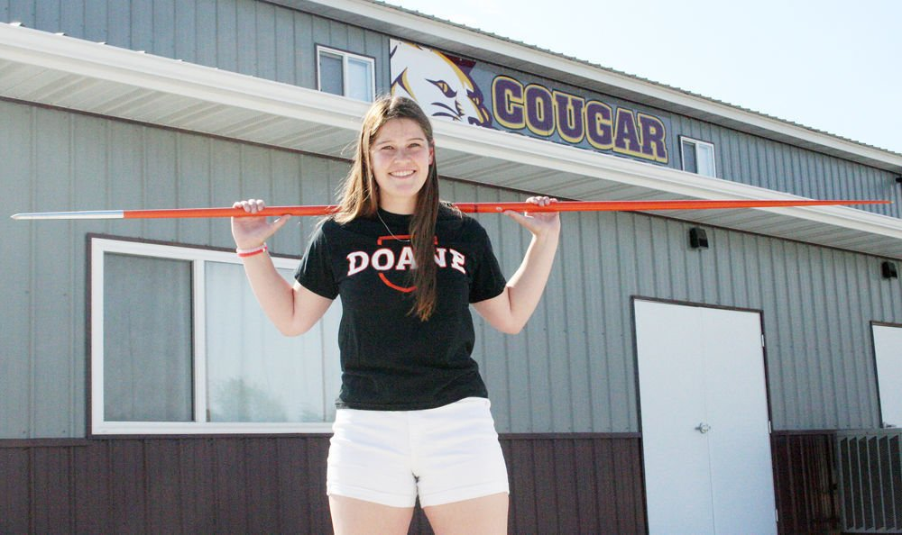Katie Drake with javelin at Cougar Stadium