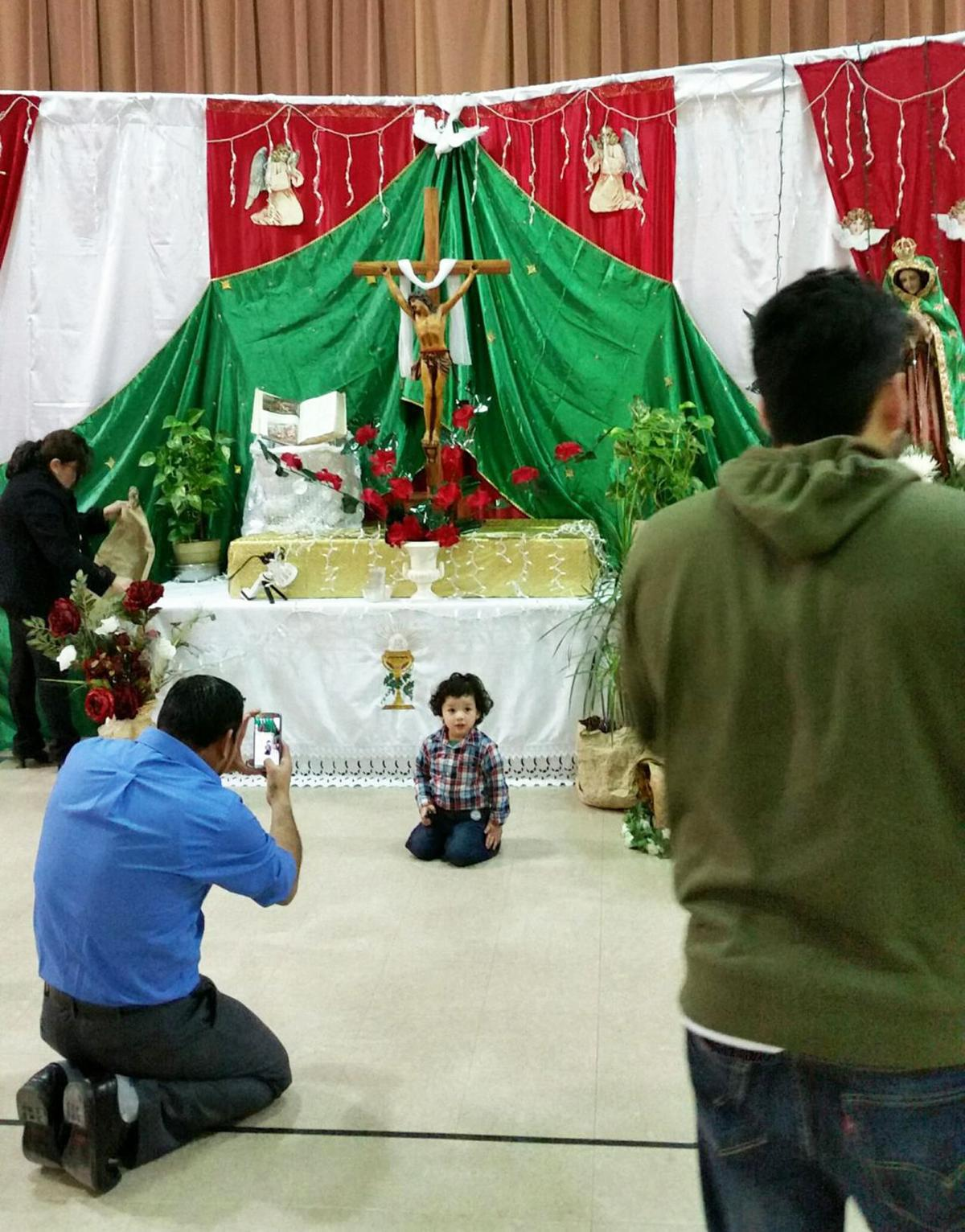 Our Lady celebration with little child