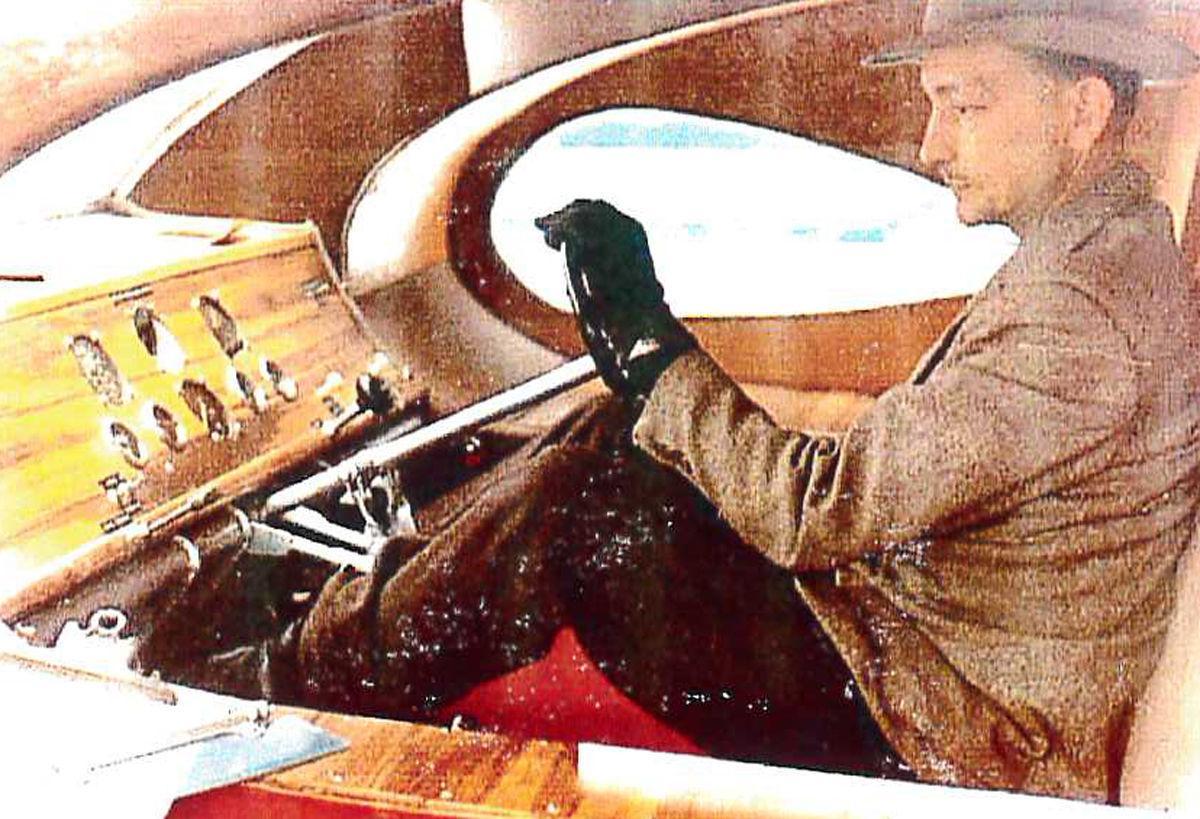 Martin Air Car interior with inventor