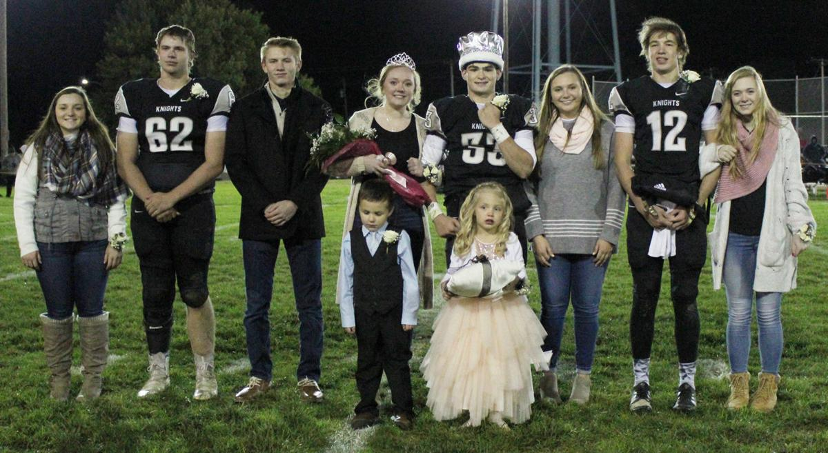Elmwood-Murdock Homecoming Court on field at halftime of football game