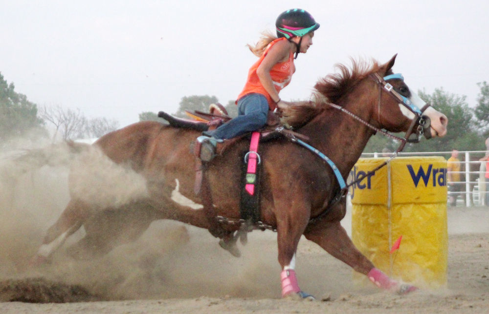 Sierra Goracke in barrel horse race