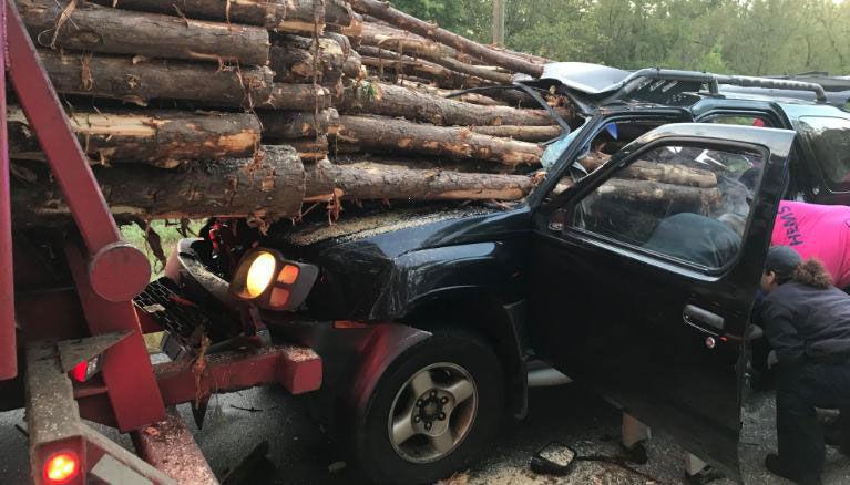 Car impaled by logs