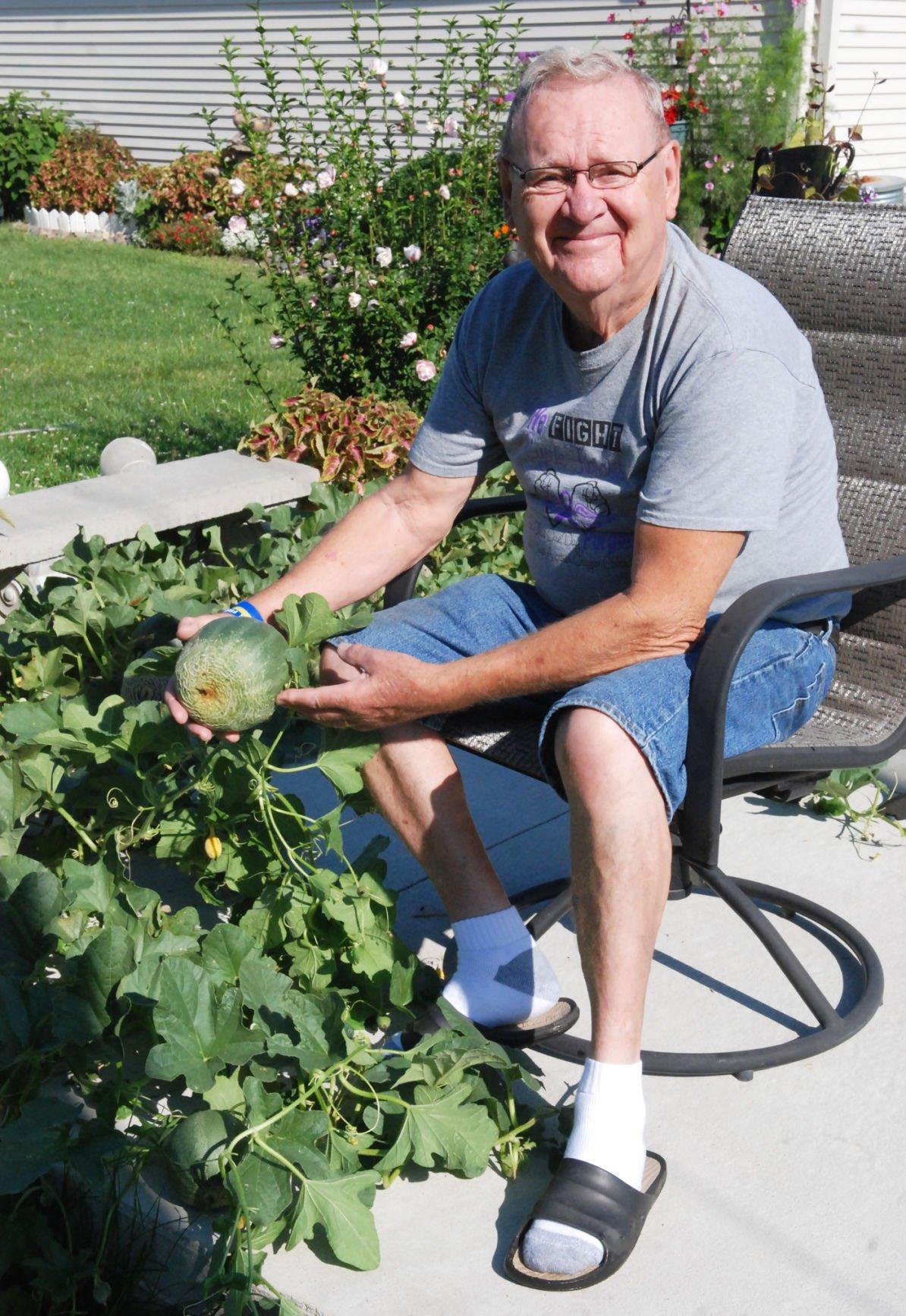 Vern's vine gardener with melon