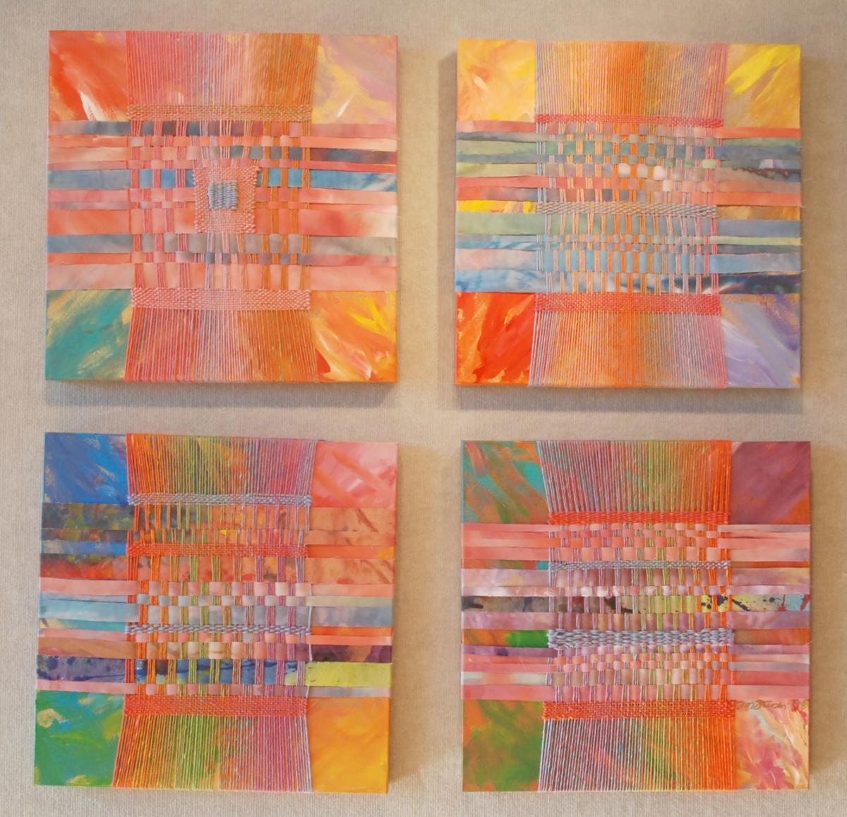 Fiber and acrylic paintings group of four