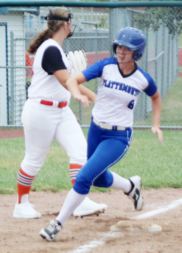Makayla Cook rounds third base vs FCHS