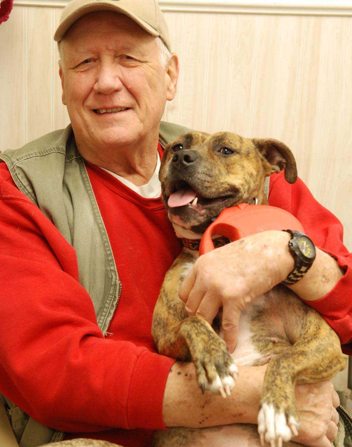 Humane society volunteer holding dog