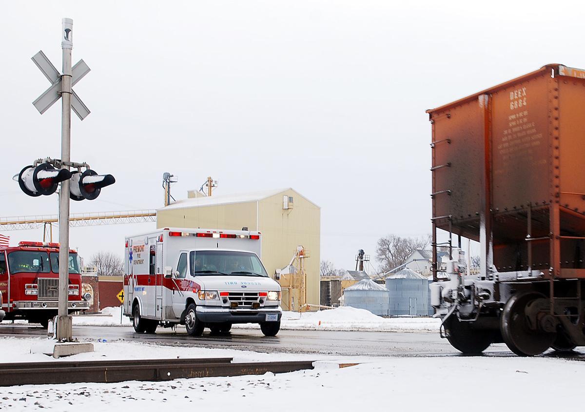 Emergency vehicles wait