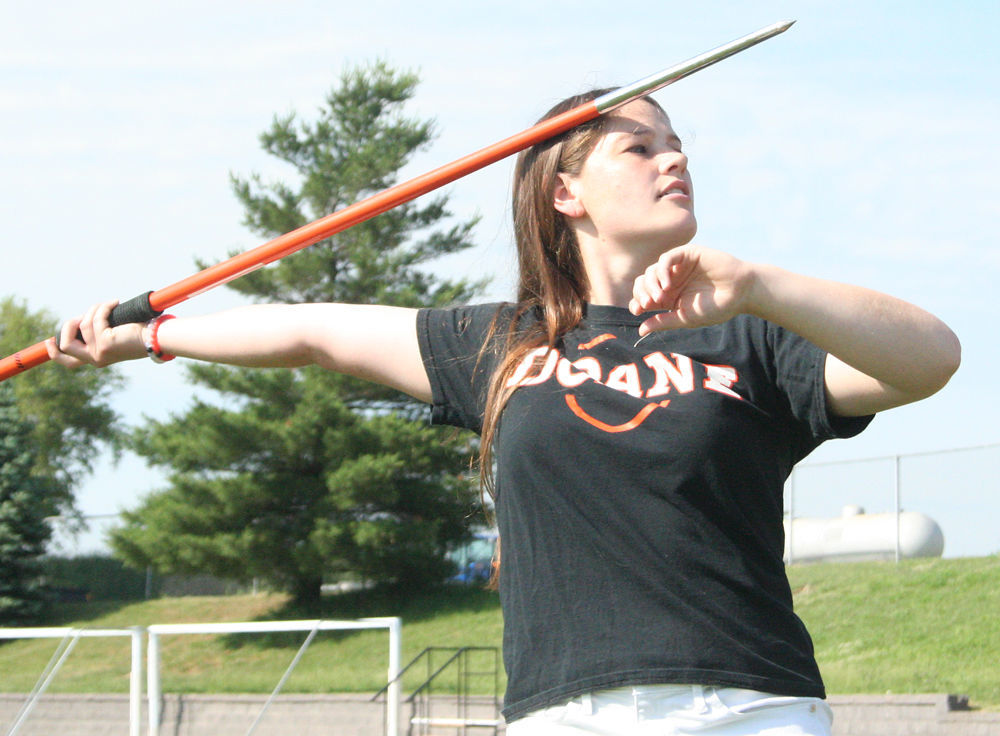 Katie Drake throws javelin at Cougar Stadium