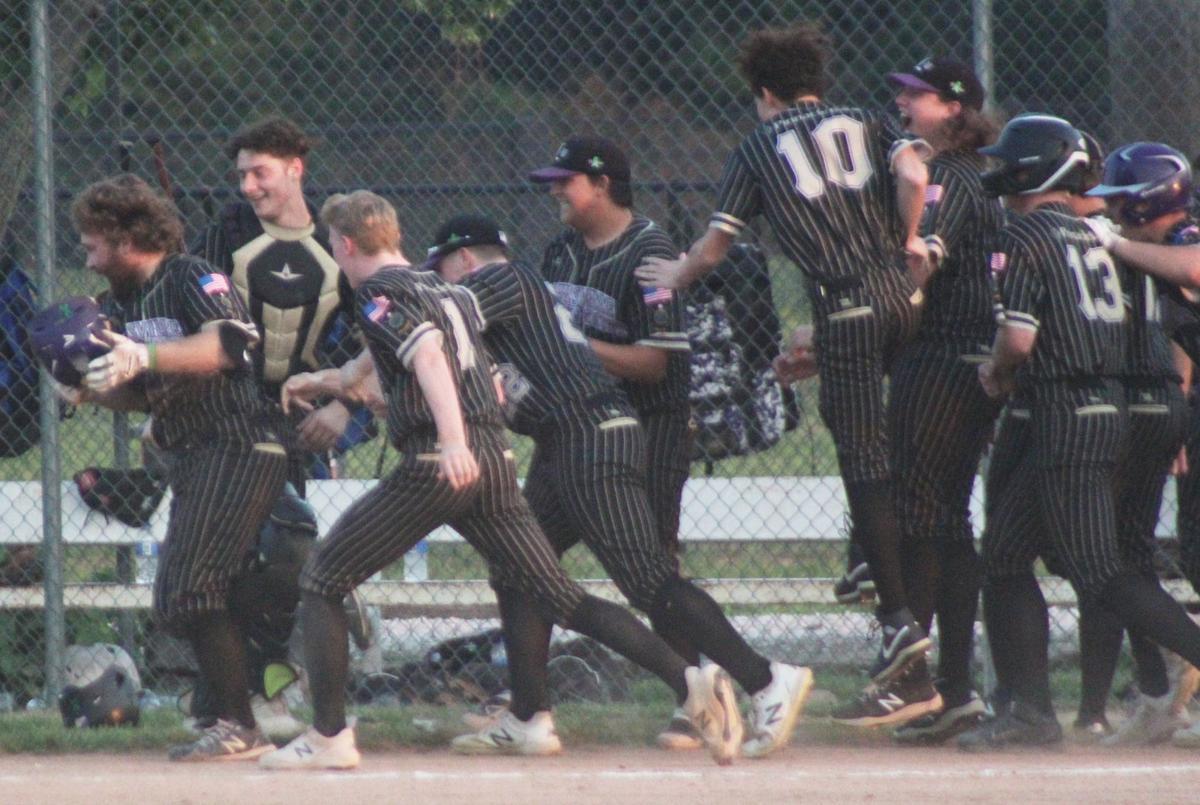Celebration after Jake Renner home run in seventh